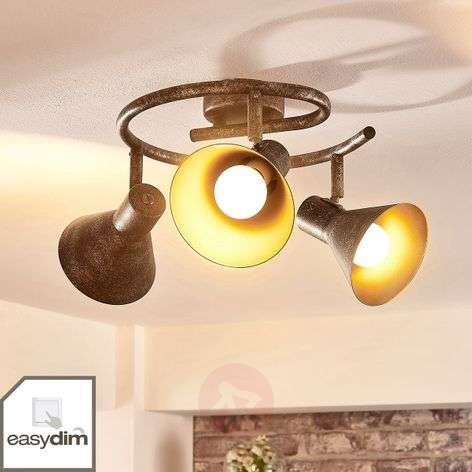 Dim. LED circular ceiling spotlight Zera rust/gold