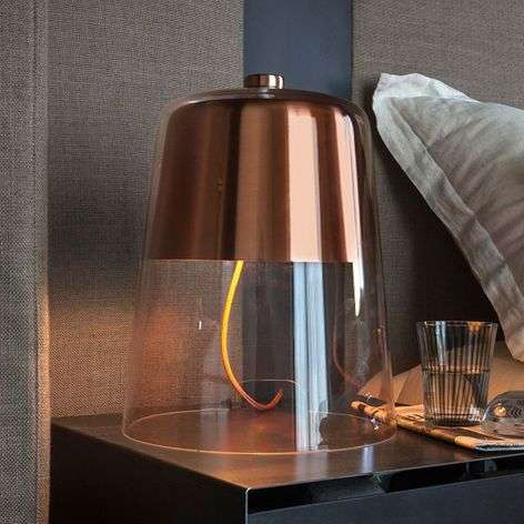 Dimmable designer table lamp Semplice, copper