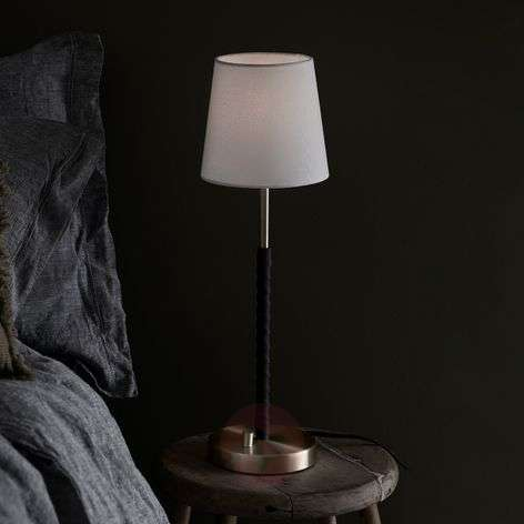 Dimmable fabric table lamp Saddle leather detail