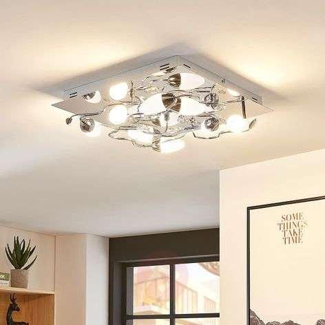 Dimmable LED ceiling light Mischa, 8-bulb square
