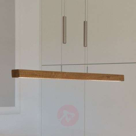 Dimmable LED hanging light Leonora, solid wood