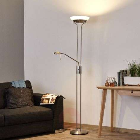 Dimmable LED uplighter Denise with reading lamp