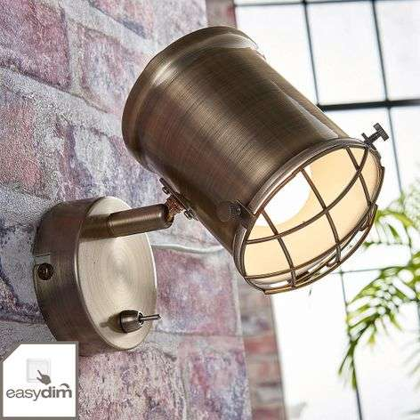 Dimmable LED wall spotlight Ebbi in antique brass
