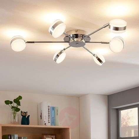Dimmable six-bulb LED ceiling lamp Ksenija