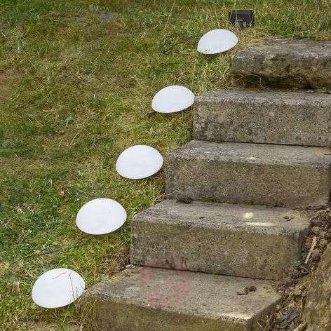 Dome set of LED solar lights with ground spikes