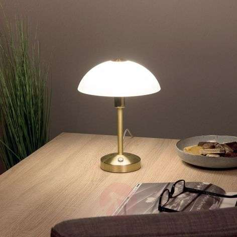 Donna LED table lamp with touch dimmer, brass