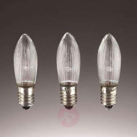 E10 3 W 48V spare bulbs, pack of 3, candle shape