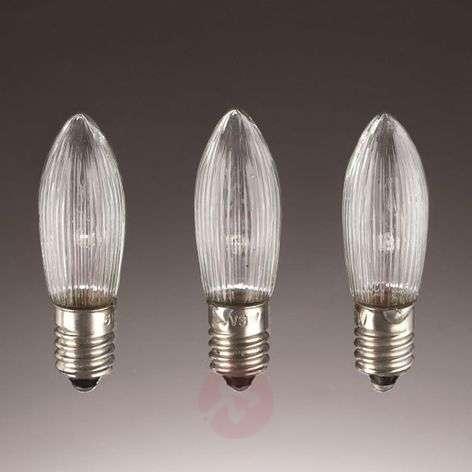 E10 3 W 8V spare bulbs, pack of 3, candle shape