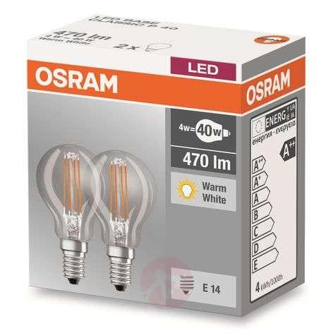 E14 4 W 827 LED golf ball bulb, set of two