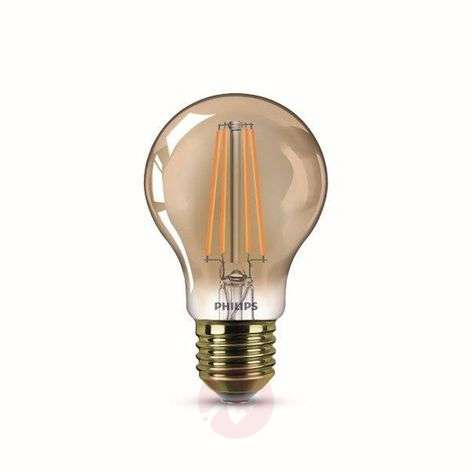E27 7.5 W filament LED bulb, warm white, gold
