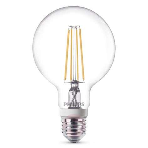 E27 7W 827 LED globe lamp G95 clear, dimmable