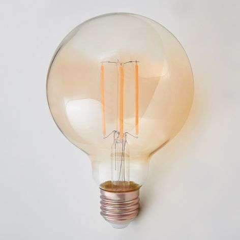 E27 LED globe filament bulb 6W 500lm, amber 2,200K