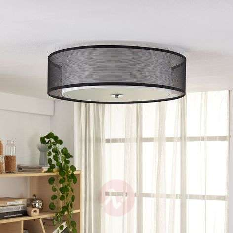 Easydim LED ceiling light Tobia, organza lampshade