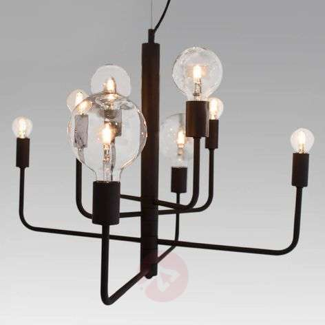 Eight-bulb hanging light Random, black