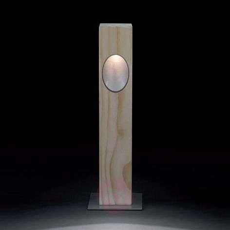 Ela - LED pillar light with accoya wood