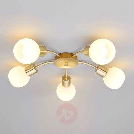 Elaina - LED ceiling light in brass, 5-bulb