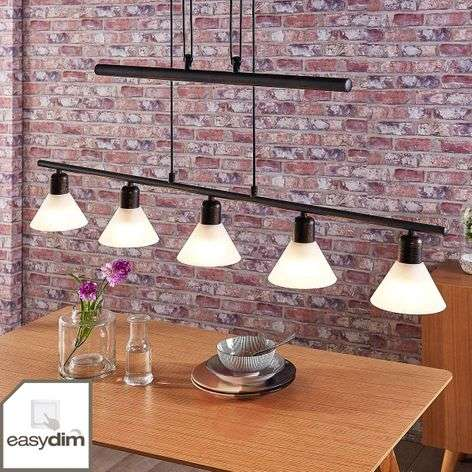 Eleasa easydim LED hanging light, 5-bulb, black