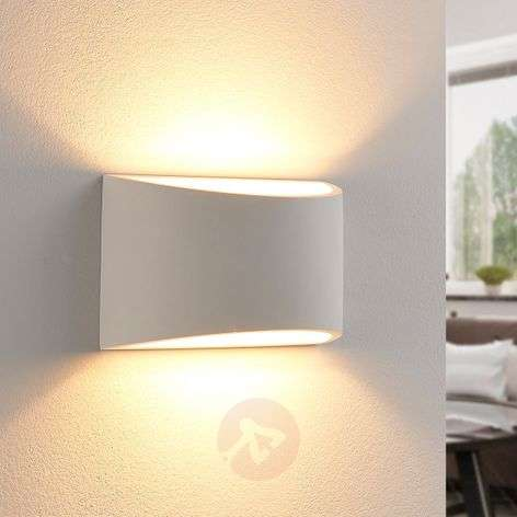 Elegant LED wall light Heiko made from plaster