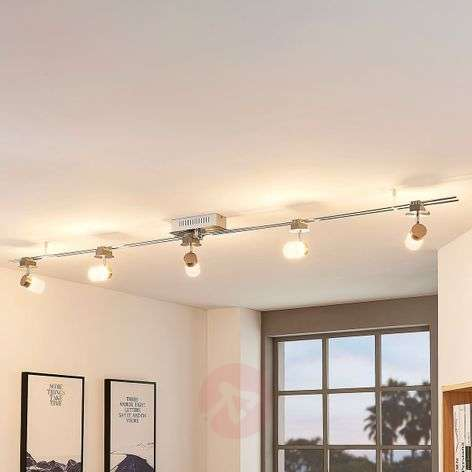 Elora LED track lighting system with 5 lampshades