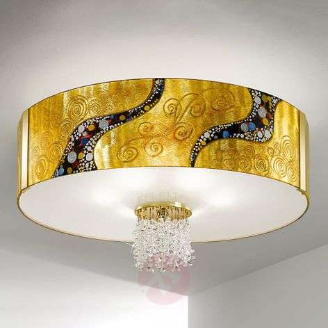 Emozione Kiss - gold-plated crystal ceiling light