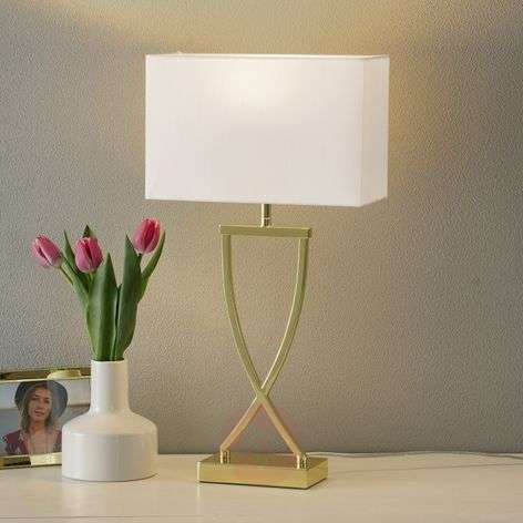 Enchanting fabric table lamp Anni brass-white-4581010-31