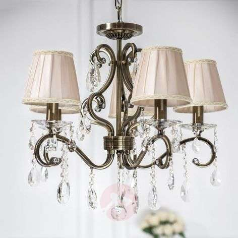 Estelle - crystal chandelier with satin shades