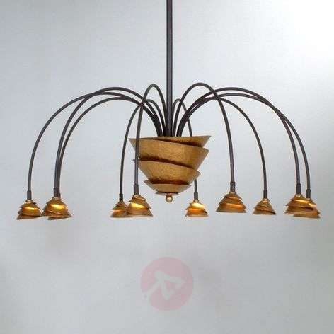Exclusive hanging lamp FONTAINE iron, brown-gold