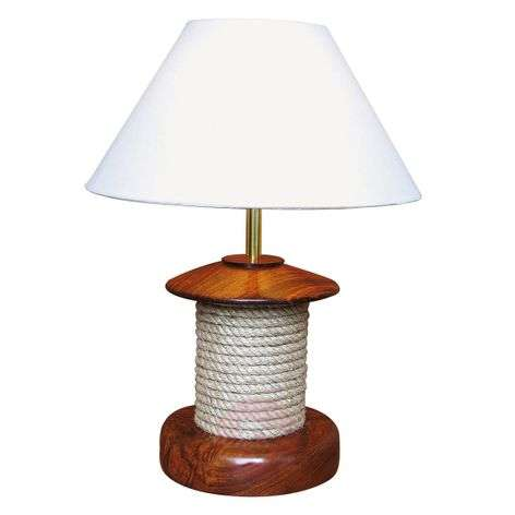 Extraordinary table lamp PULLEY with wood
