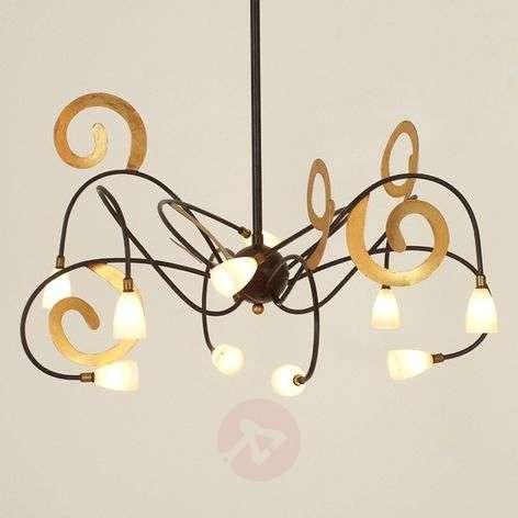 Extravagant LED hanging light Lunapark, brown-gold