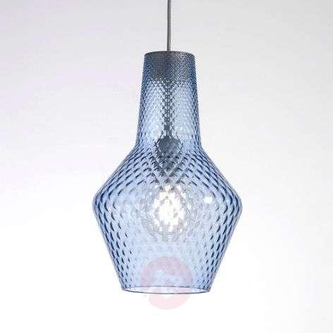 Eye-catcher - blue glass hanging lamp Romeo