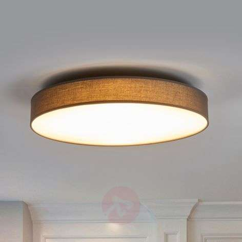 Fabric ceiling lamp Saira in grey, with LEDs