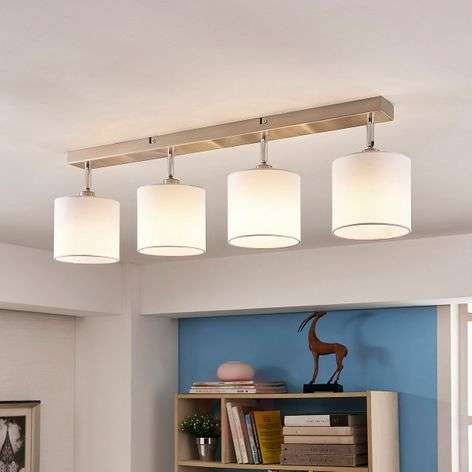 Fabric ceiling light Mairi with LED lamps