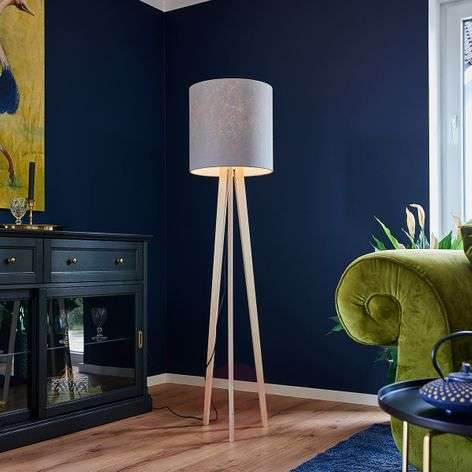 Fabric floor lamp Nida with tripod wooden frame