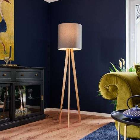 Fabric floor lamp Nida, wooden frame, graphite