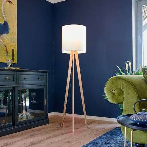 Fabric floor lamp Nida, wooden frame, white