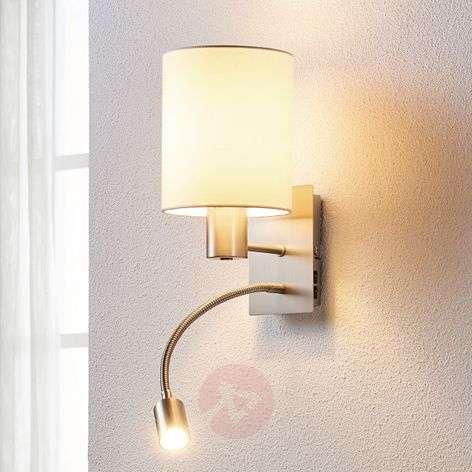 Fabric wall lamp Shajan with LED reading light