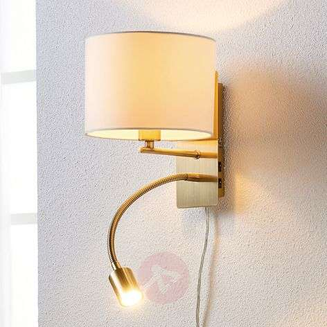 Fabric wall light Florens with a flexible LED arm