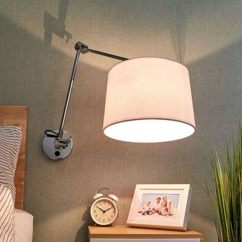 Fabric wall light Jolla, cantilever arm and switch