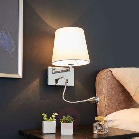 Fabric wall light Leonella with LED reading lamp
