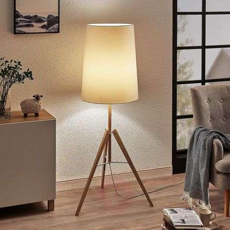 Feyra tripod fabric floor lamp, round, white