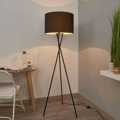 Fiby fabric floor lamp with black shade-4018035-32