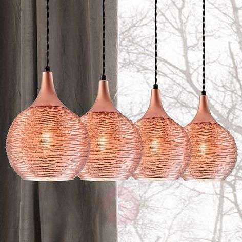 Fiona linear pendant light in copper, 4-bulb
