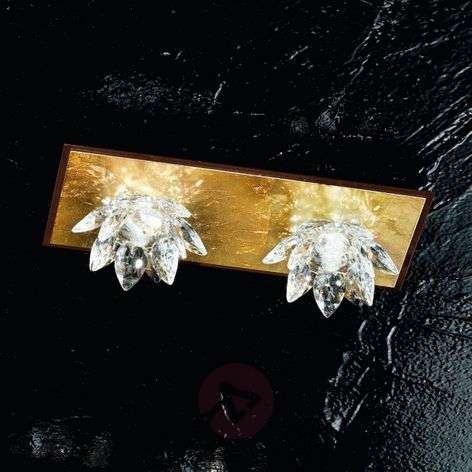 Fiore ceiling light with gold leaf and crystal