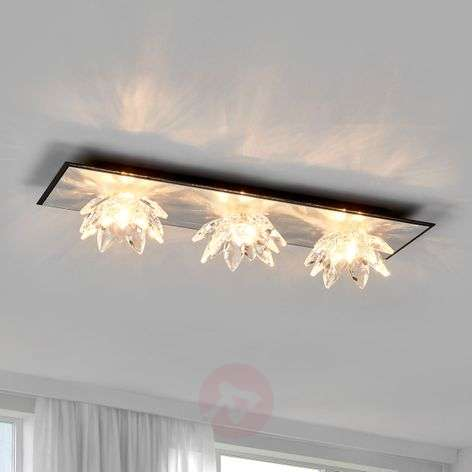 Fiore Cristallo, silver leaf ceiling light, 3-bulb-5505554-31