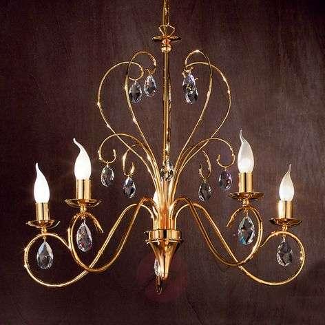 Fioretto Chandelier Graceful Five Bulbs Gold