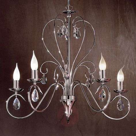 Fioretto Chandelier with Asfour Crystal Five Bulbs