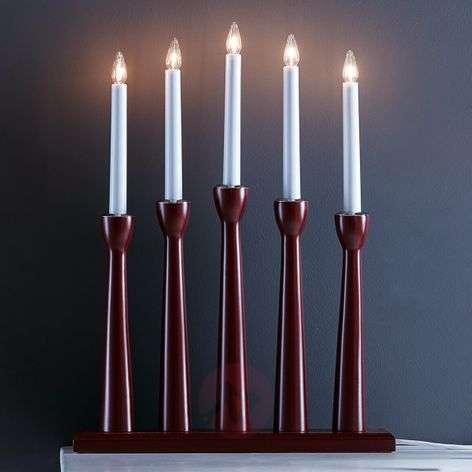 Five-bulb candleholder Maseskär in dark red