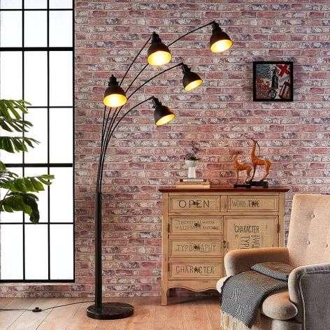 Five-bulb floor lamp Lira in black and gold-9621140-32