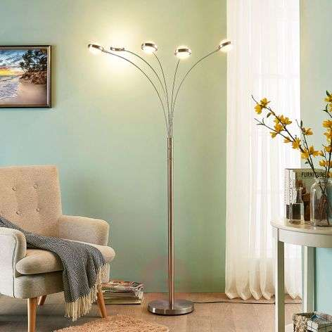 Five-bulb LED floor lamp Catriona with dimmer