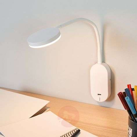 Flexible arm LED wall light Milow with USB port